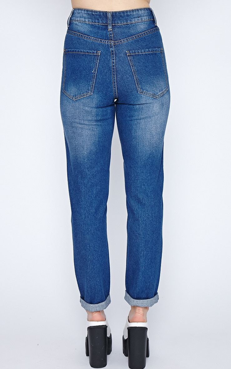 Daisy Ripped Dark Wash Girlfriend Jean 2
