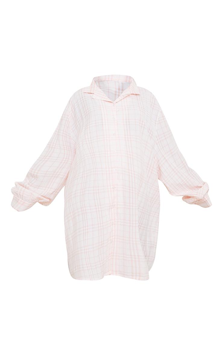 Maternity Pink Oversized Check Night Shirt  5