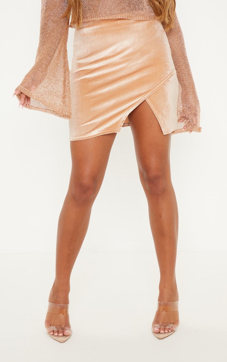 Stone Velvet Split Hem Mini Skirt 2