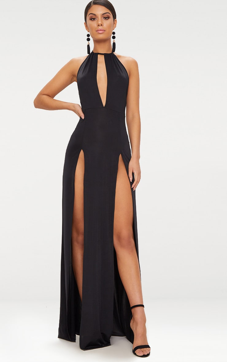 Black High Neck Cut Out Detail Extreme Split Maxi Dress 1