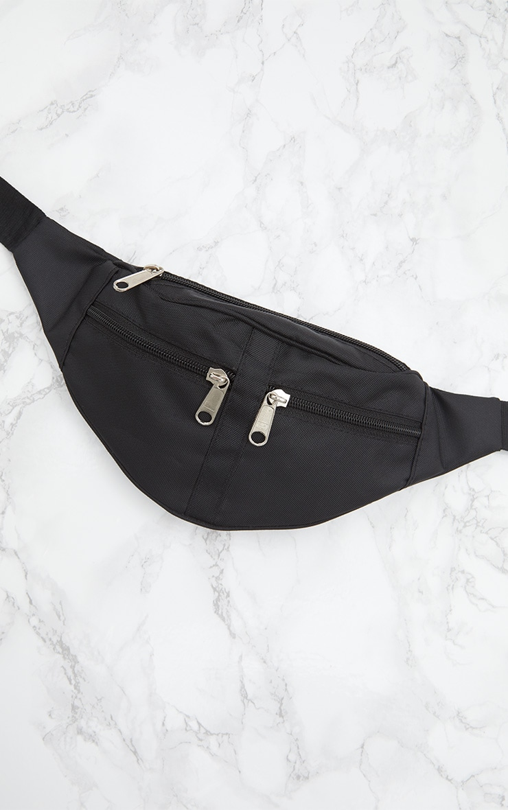 Black Double Zip Fanny Pack 4