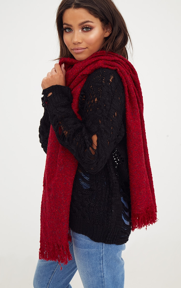 Red Long Fringed Scarf 2