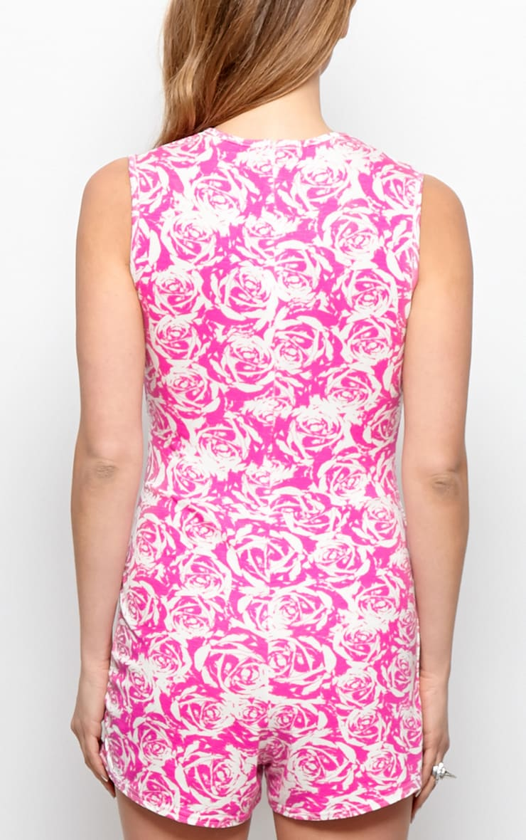 Lydia Pink Rose Print Playsuit-S/M 2