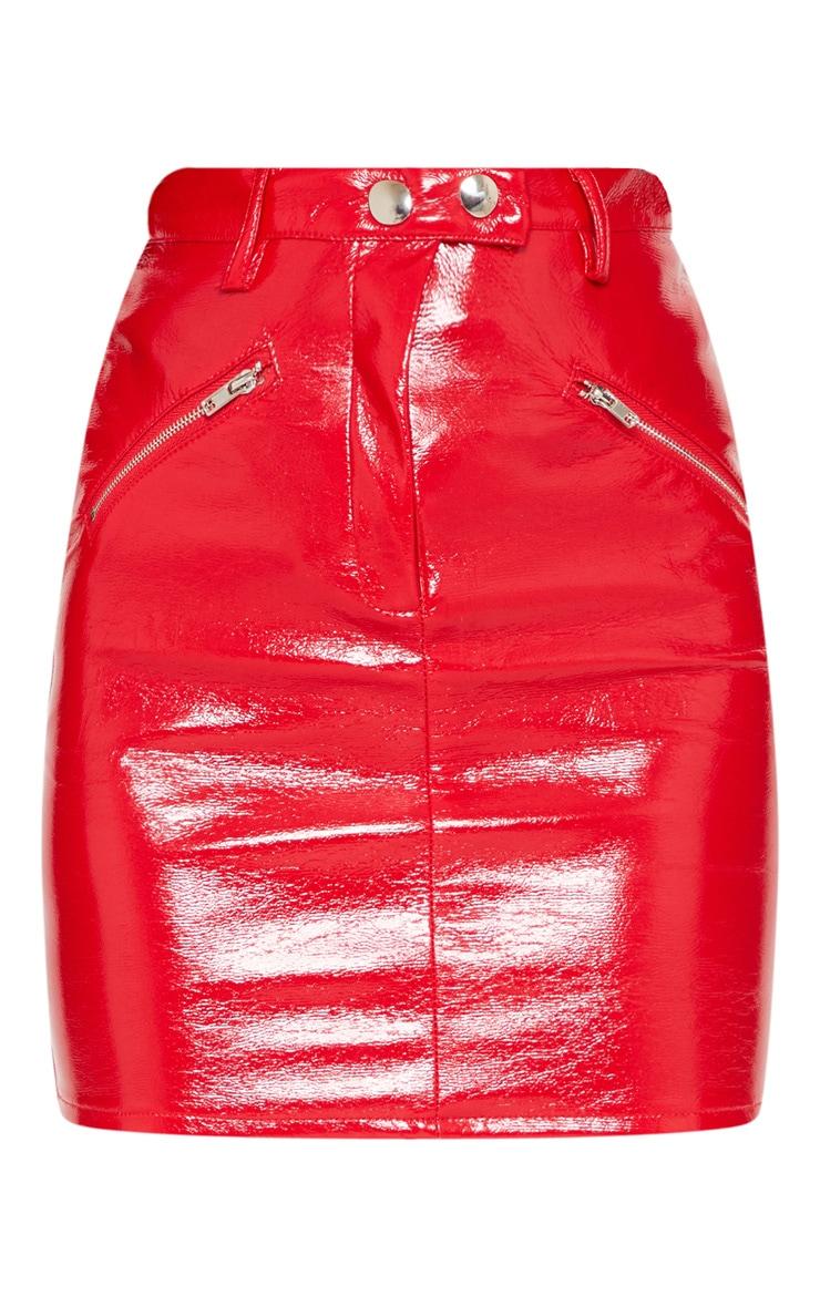 Red Coated Zip Detail Mini Skirt 3