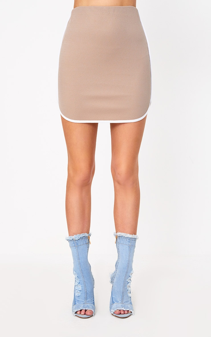 Taupe Contrast Binding Runner Mini Skirt 2