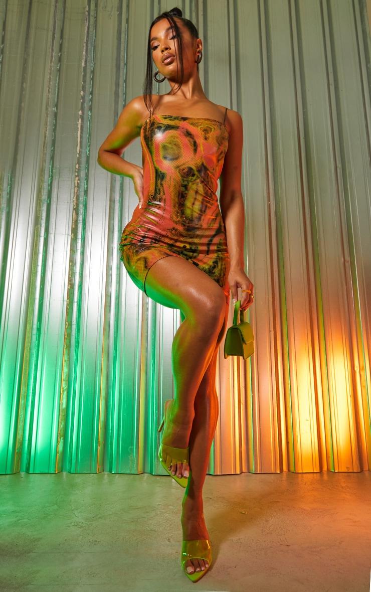Multi Abstract Print Pu Spaghetti Strap Bodycon Dress 1