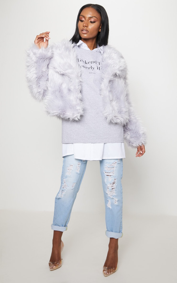 Ice Grey Faux Fur Jacket 1