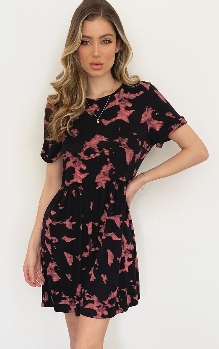 Rust Tie Dye Short Sleeve Smock Dress 1