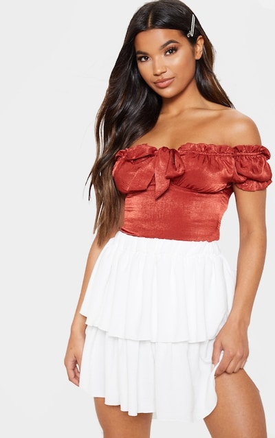 White Woven Frill Tiered Mini Skirt