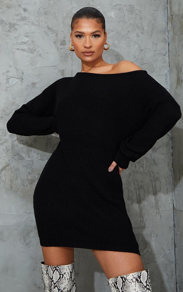 Black Off The Shoulder Knitted Jumper Dress 1