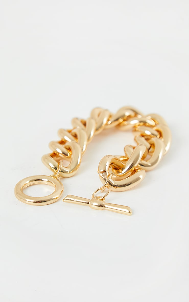 Gold Chunky T Bar Bracelet 3