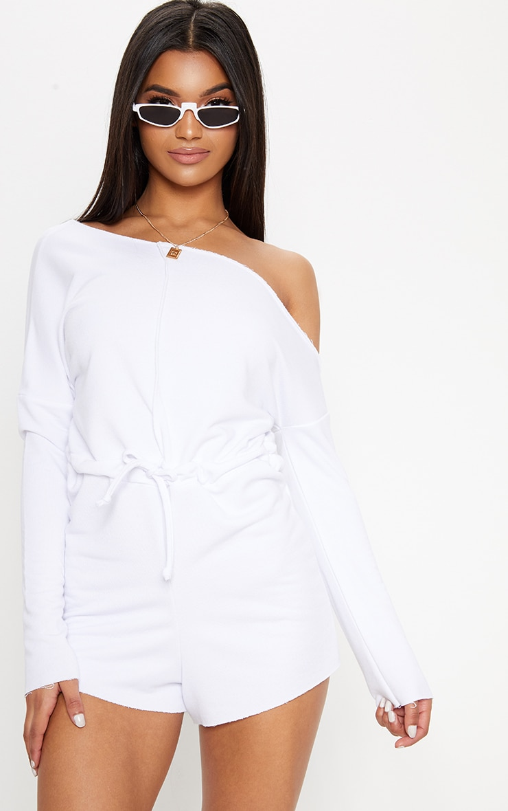 White Loop Back Off the Shoulder Playsuit 1