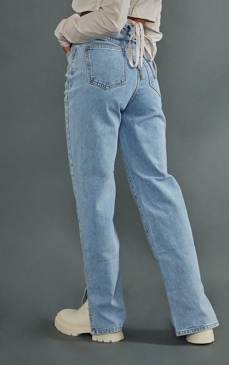 Petite Light Wash Split Hem Jeans 3