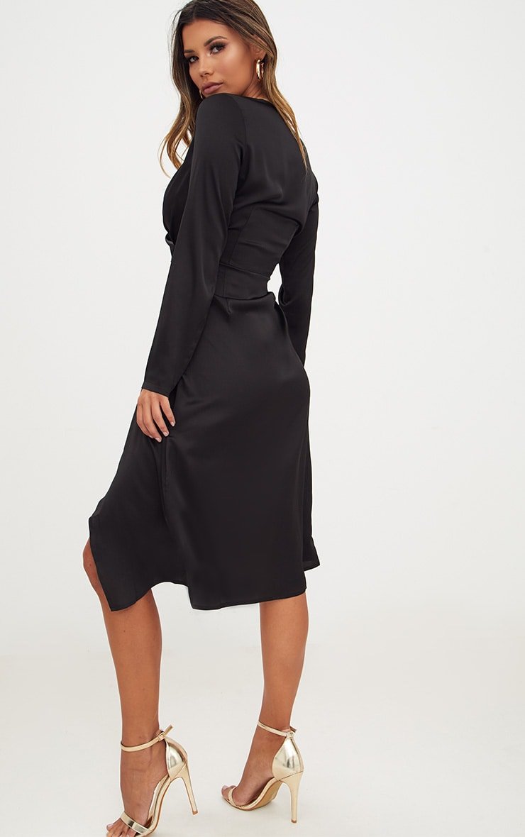 Black Satin Long Sleeve Wrap Midi Dress 2