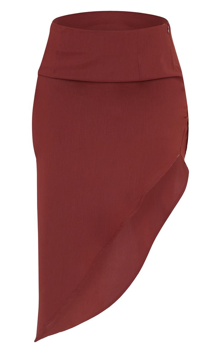 Chocolate Brown Woven Asymmetric Midi Skirt 5