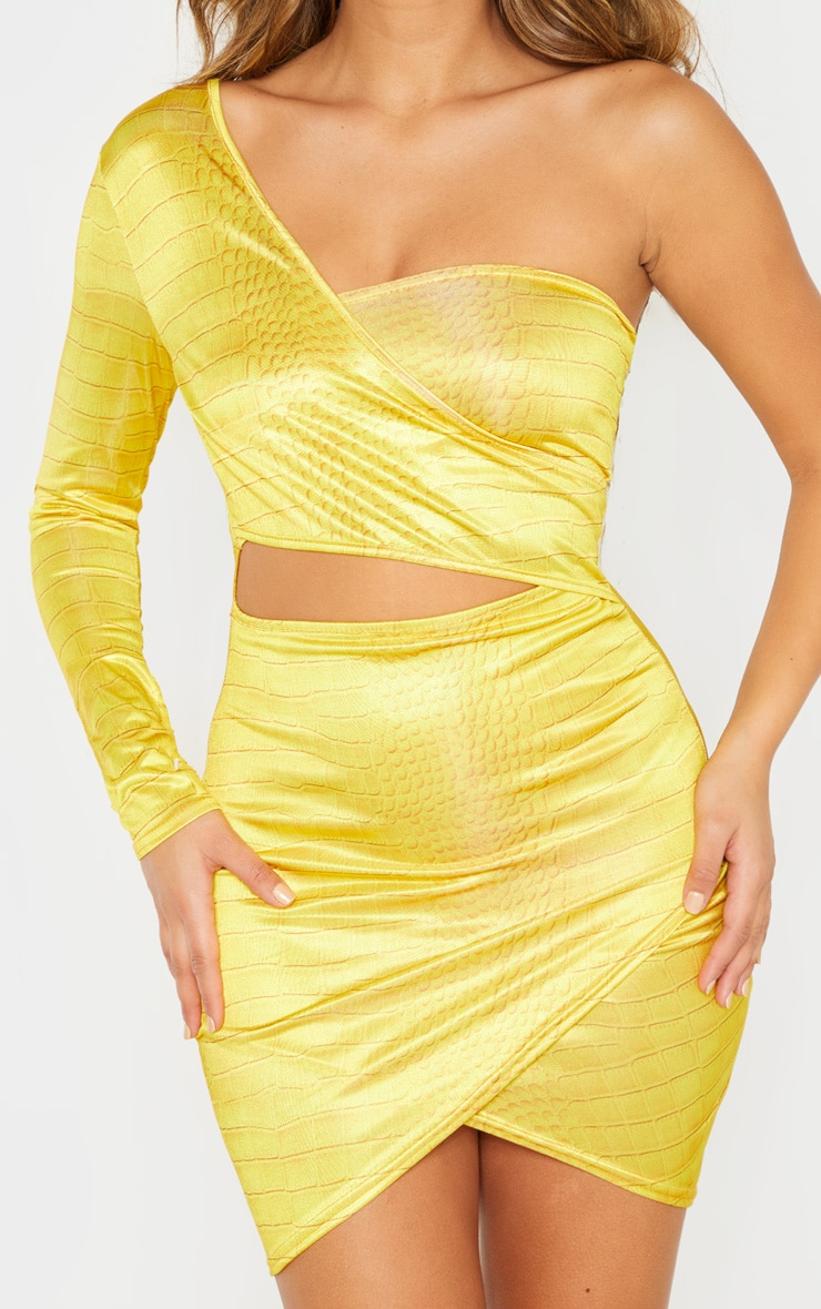 Yellow Croc Print One Shoulder Cut Out Bodycon Dress 4