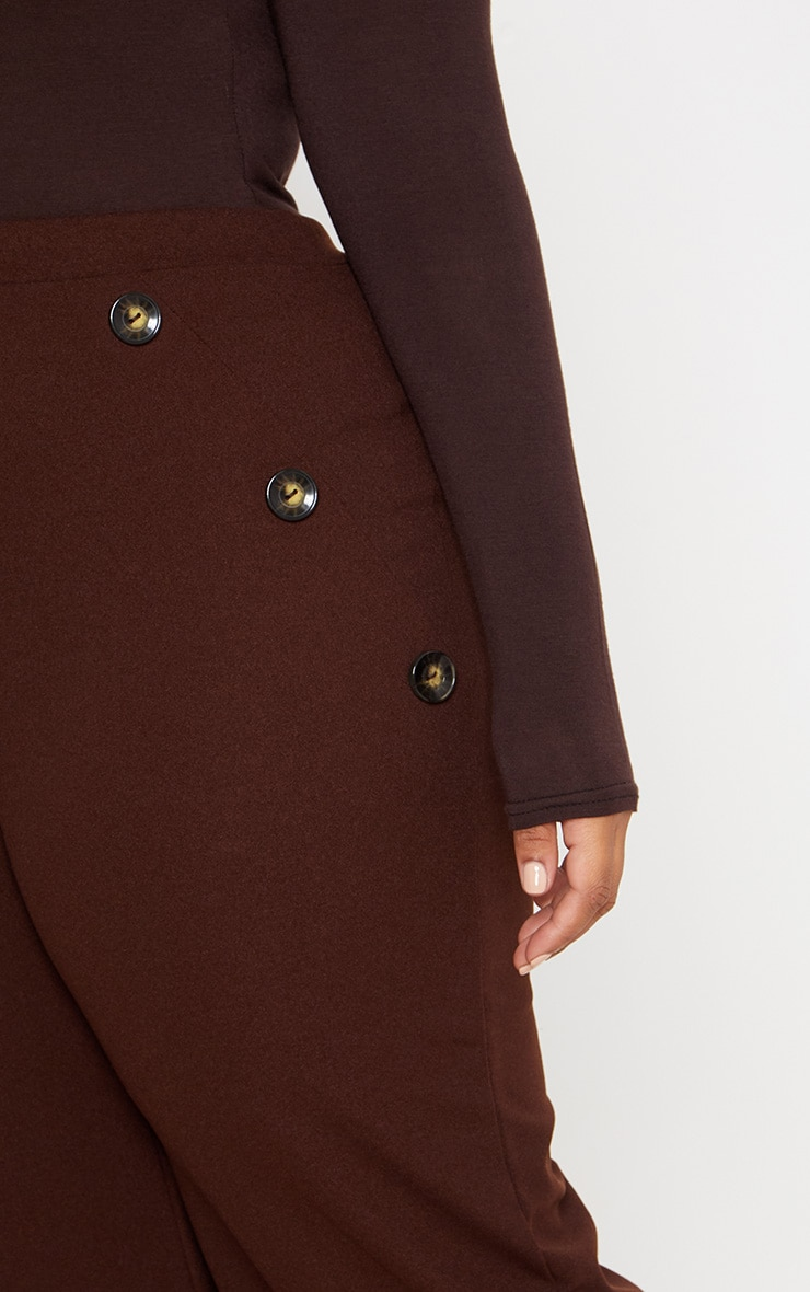 Plus Chocolate Brown Button Detail Wide Leg Trousers 5