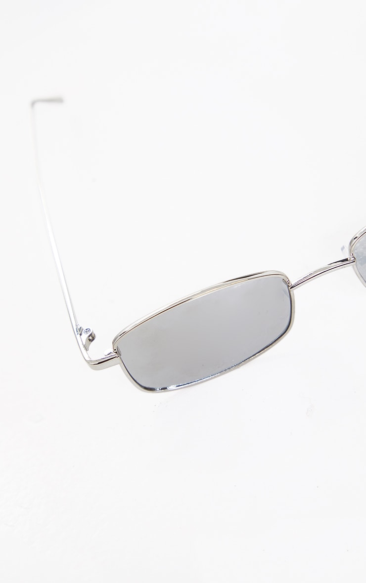 Silver Frame Revo Slim Rectangle Sunglasses 3