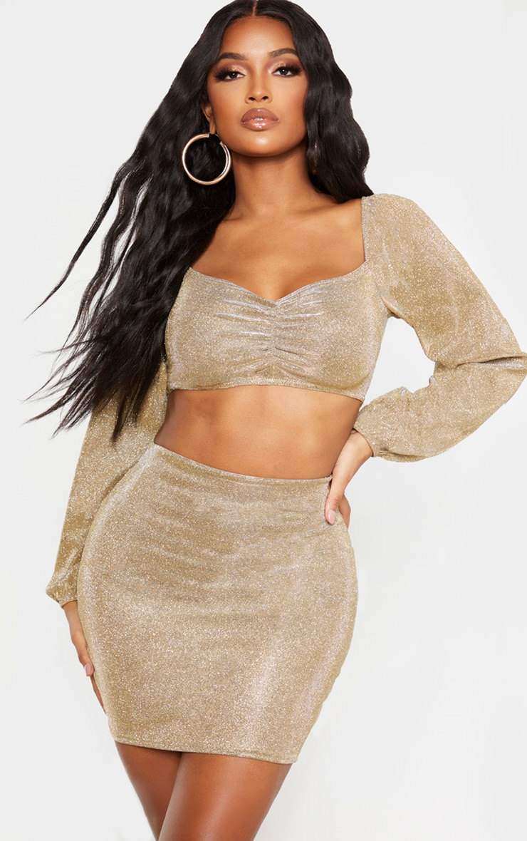 Shape Gold Glitter Ruched Front Long Sleeve Crop Top 1