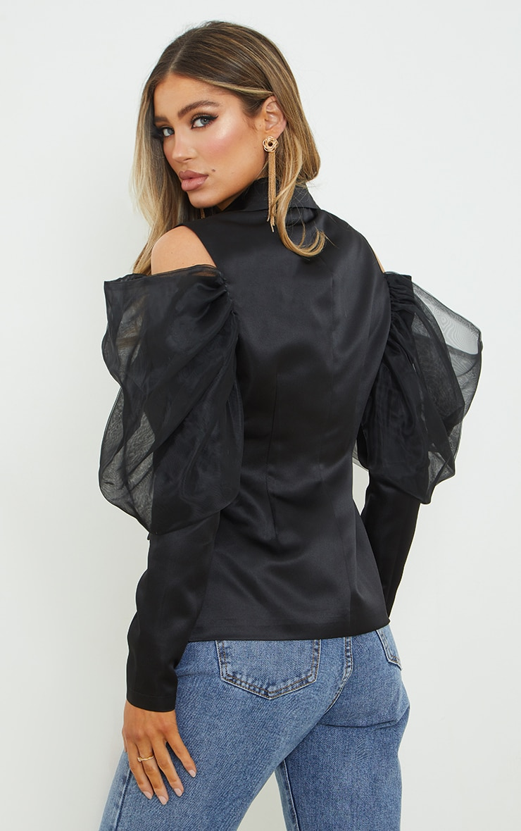 Black Woven Cut Out Puff Sleeve Blazer 2
