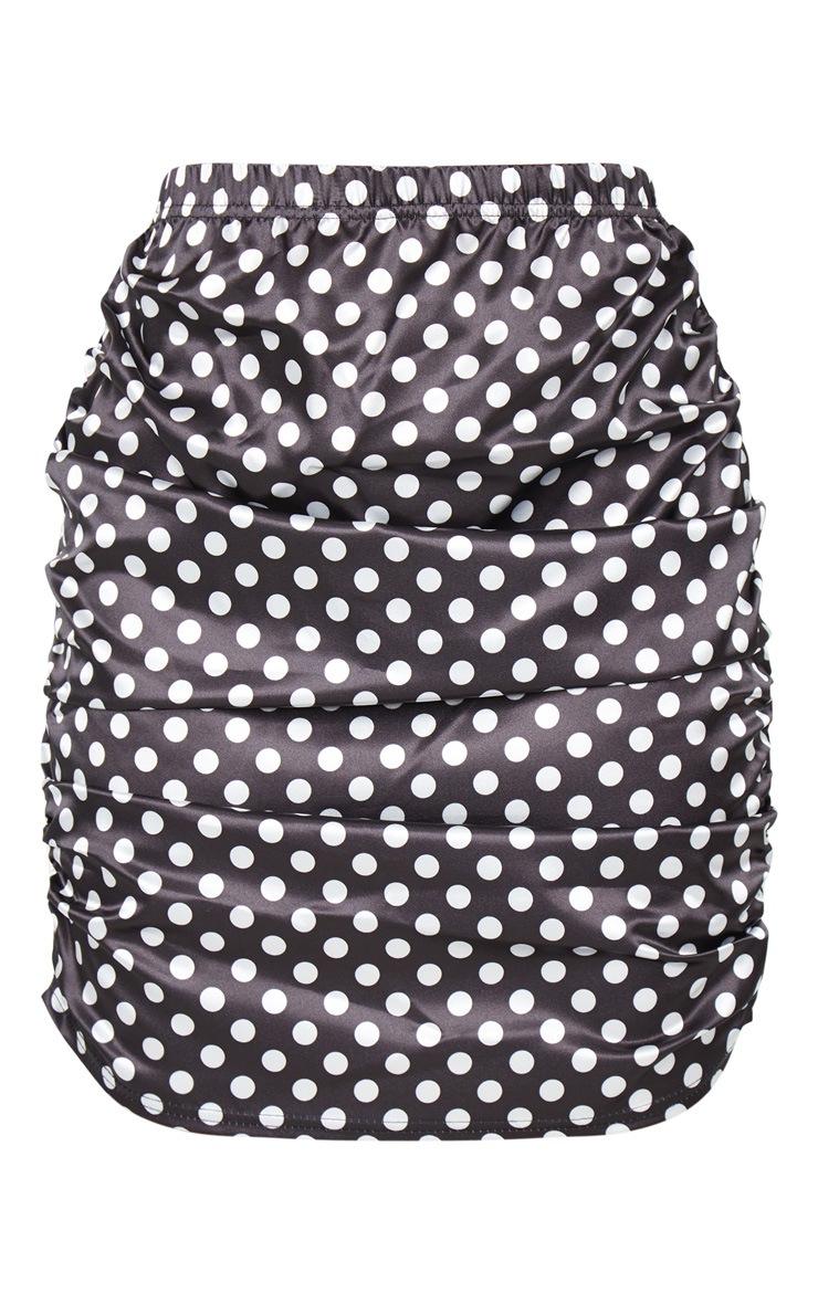 Petite Black Satin Ruched Polka Dot Skirt 6