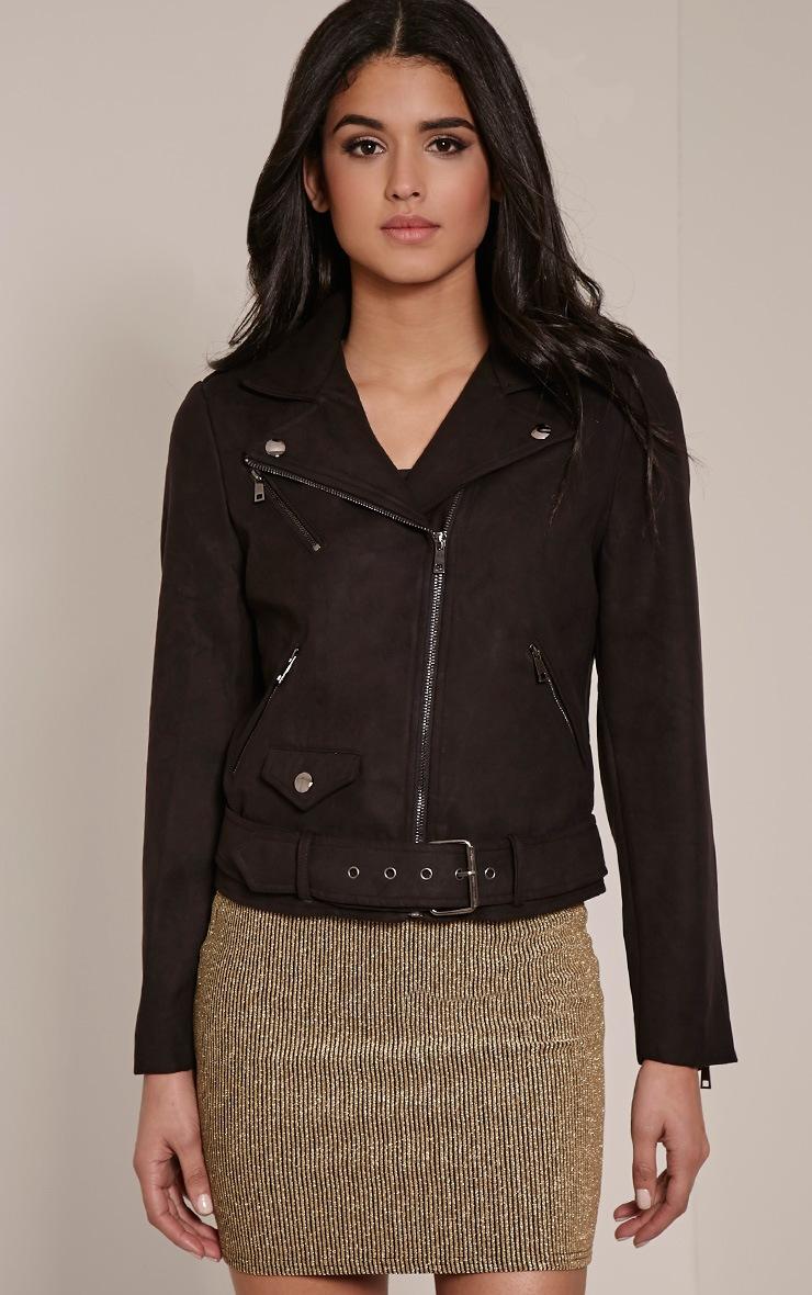 Sloane Black Faux Suede Premium Biker Jacket 4