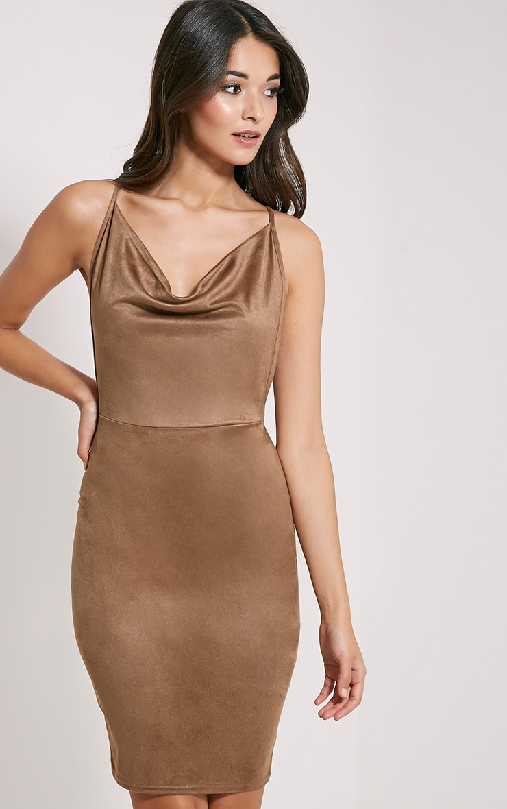 Orion Tan Faux Suede Dress 1