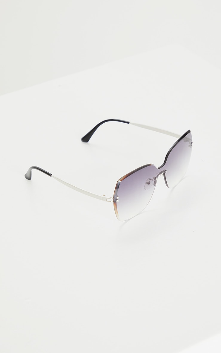 Grey Fade Oversized Pointed Square Sunglasses 2