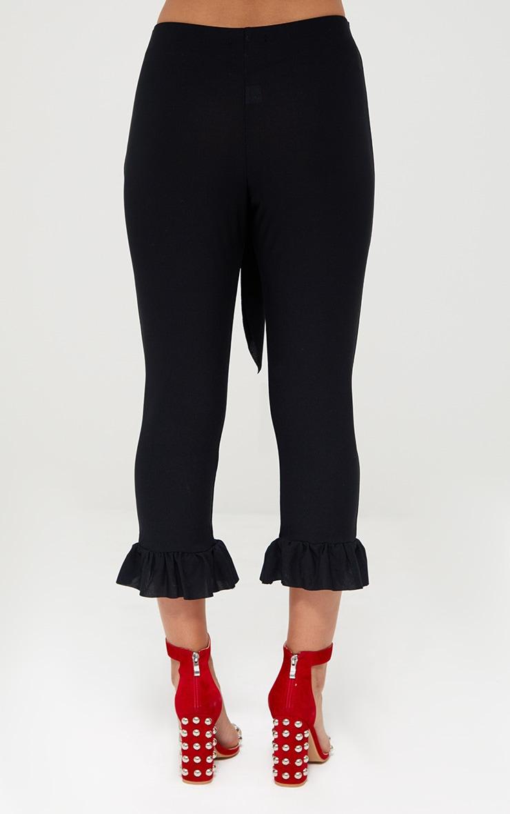Black Tie Waist Frill Hem Trousers 3