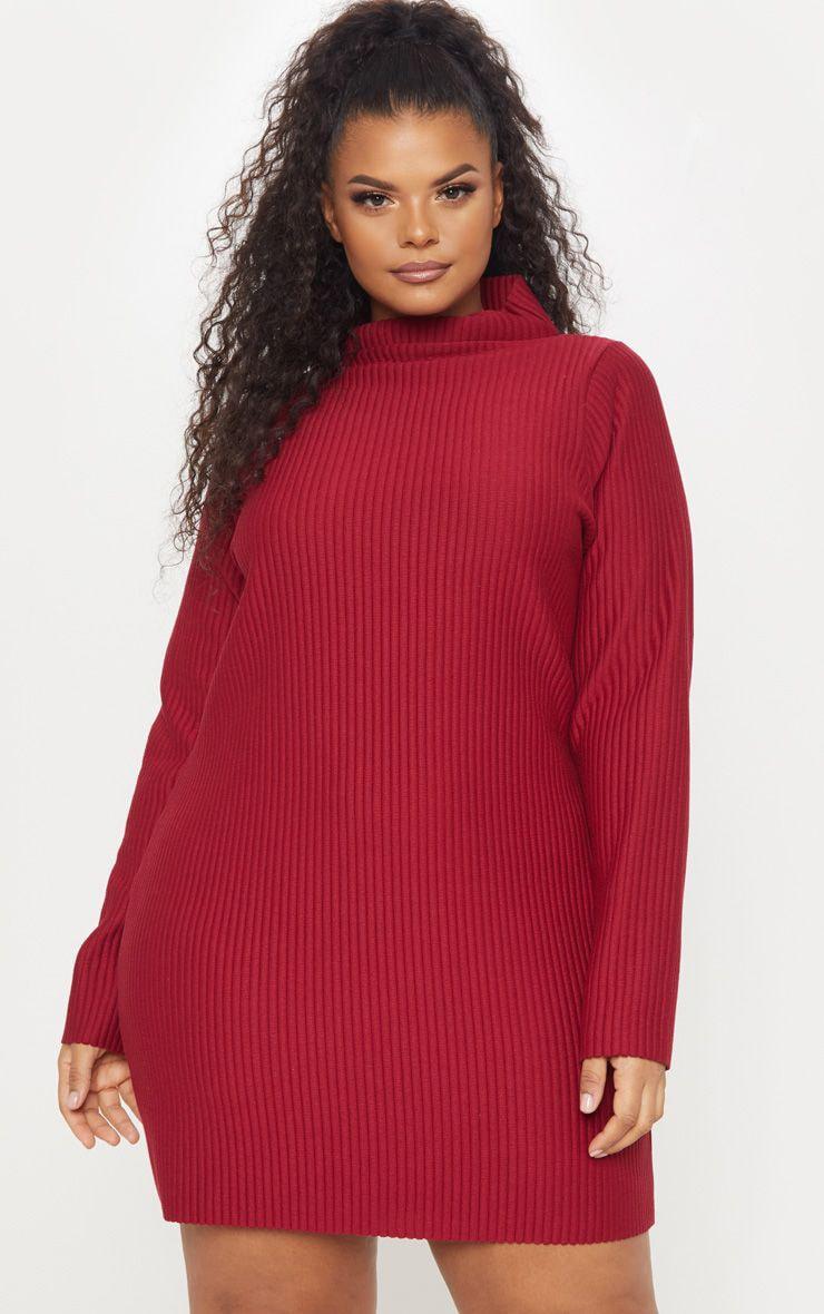 5f884dd39d9 Plus Wine Jumbo Rib High Neck Sweater Dress image 1