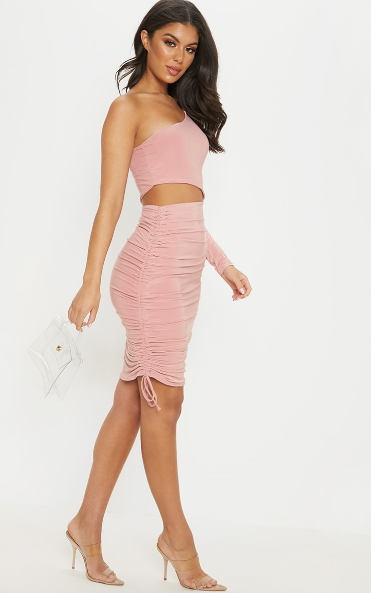 Rose Slinky Cut Out Ruched One Sleeve Bodycon Dress 4