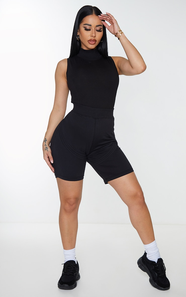 Shape Black Panel Detail Sleeveless High Neck Bodysuit 2