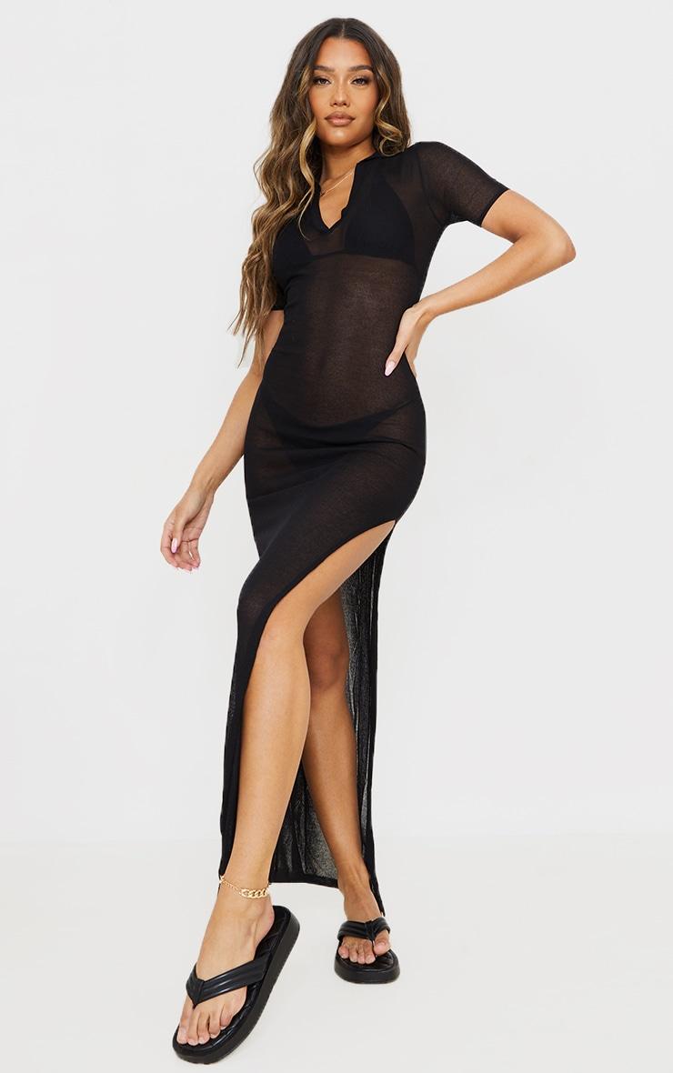 Black Sheer Knit Collar Detail Maxi Dress 1