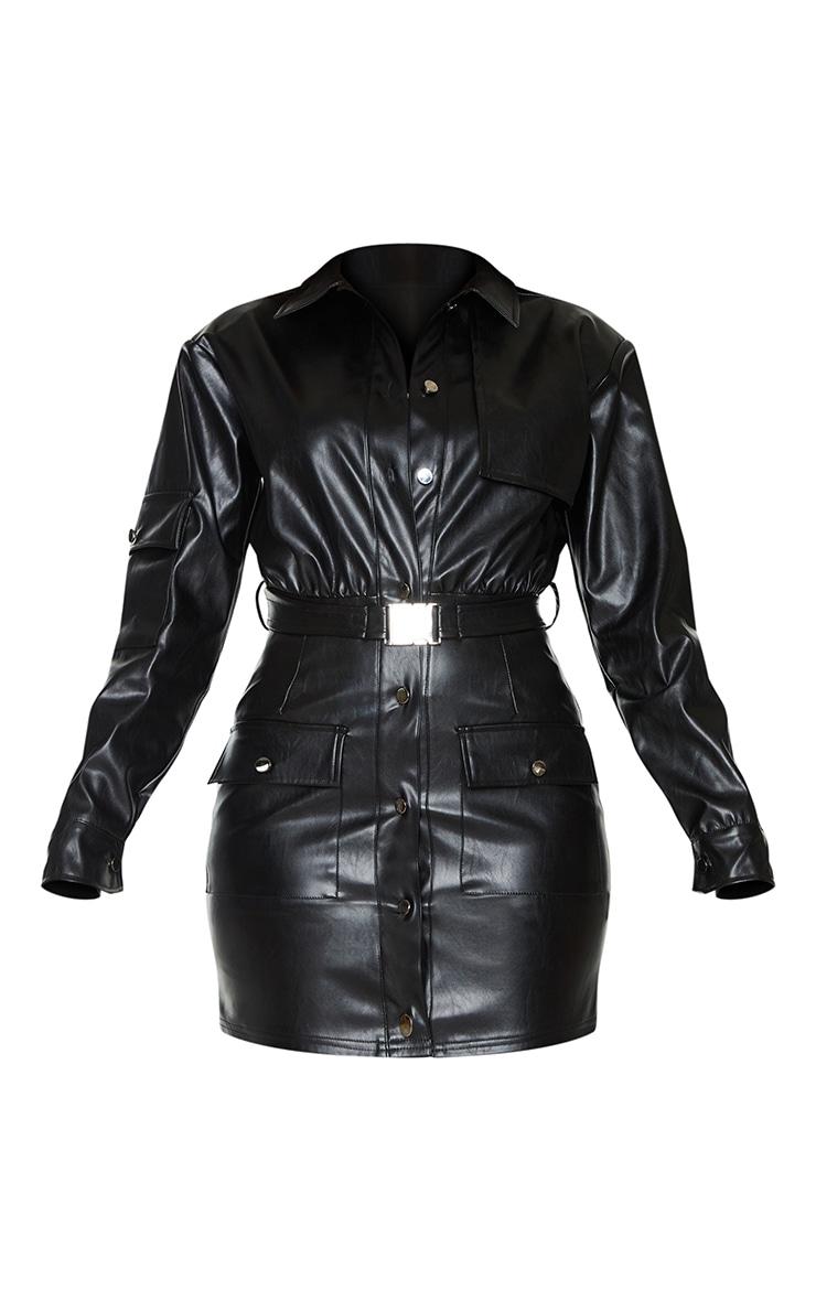 Black Faux Leather Multi Pocket Detail Utility Shirt Dress 5