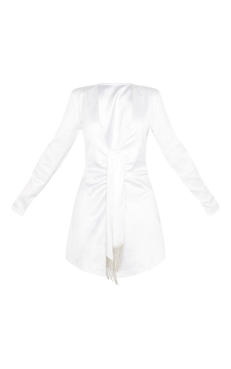 White Extreme Plunge Diamante Drape Shift Dress 3