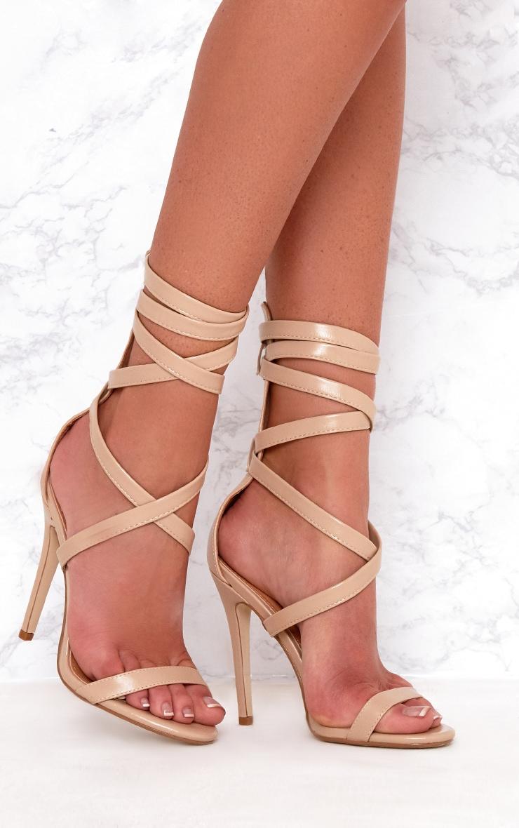 Sexy Nude Heels - Platform Heels - Lace-Up Heels - Vegan