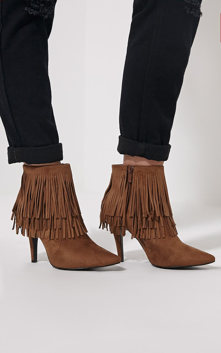 Torah Tan Pointed Fringe Suede Boots 1