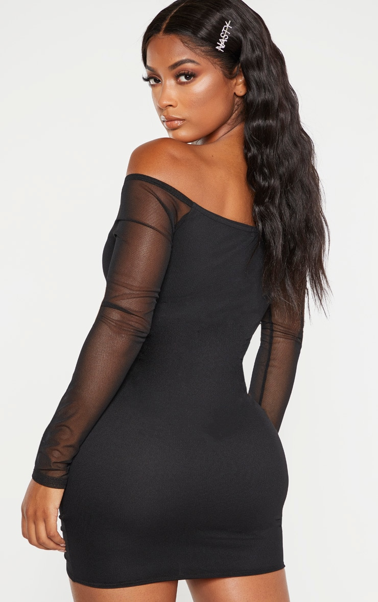 Shape Black Mesh Ruched Bardot Bodycon Dress 2