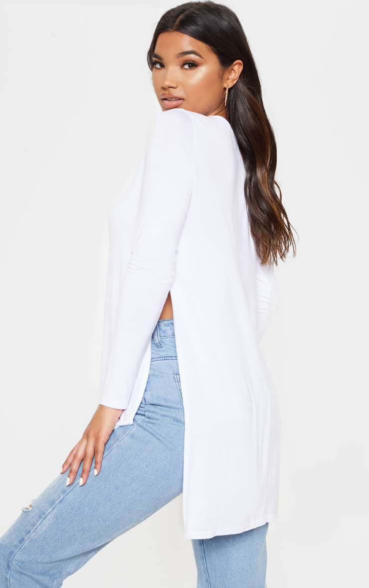 Tamsyn White Long Sleeve Side Split Top 2
