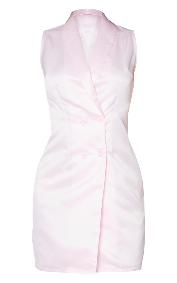 Tall Dusty Pink Sleeveless Plunge Blazer Dress 5