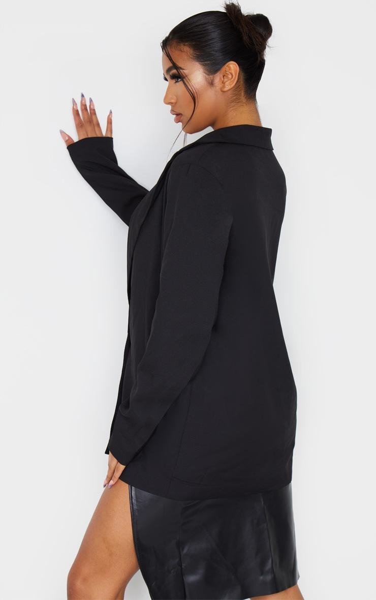 Black Oversized Boyfriend Fit Woven Blazer 4