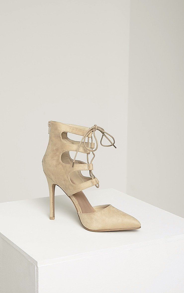 Lydia Cream Faux Suede Lace Up Heeled Sandals 6