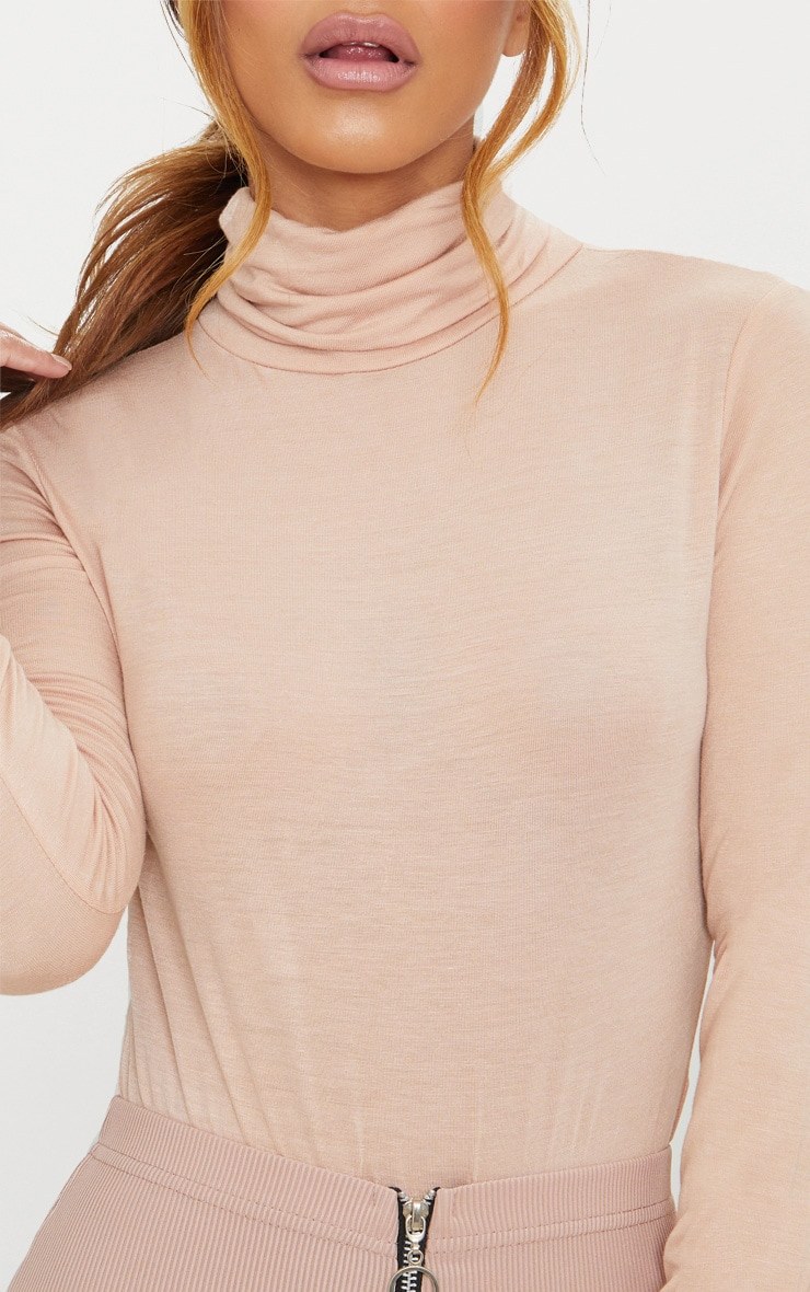 Petite Nude Basic Roll Neck Long Sleeve Bodysuit 6