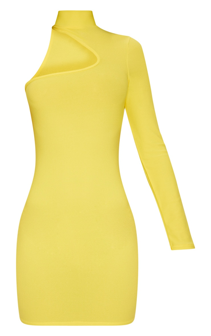 Yellow High Neck Asymmetric Sleeve Bodycon Dress 3