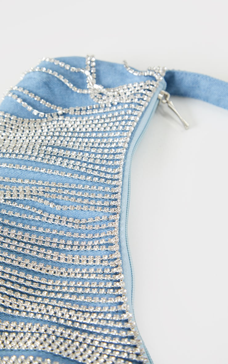 Blue Silver Diamante Tassel Shoulder Bag 3