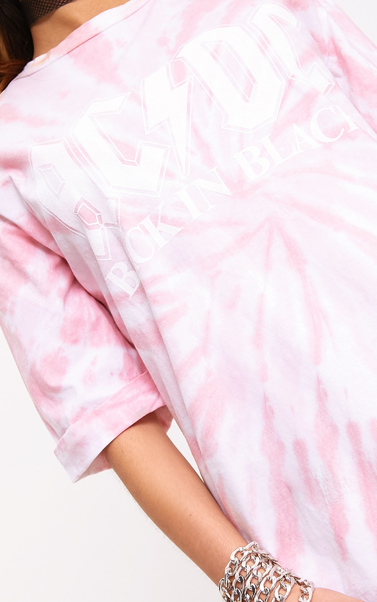 ACDC Pink Tie Dye T Shirt Dress  5