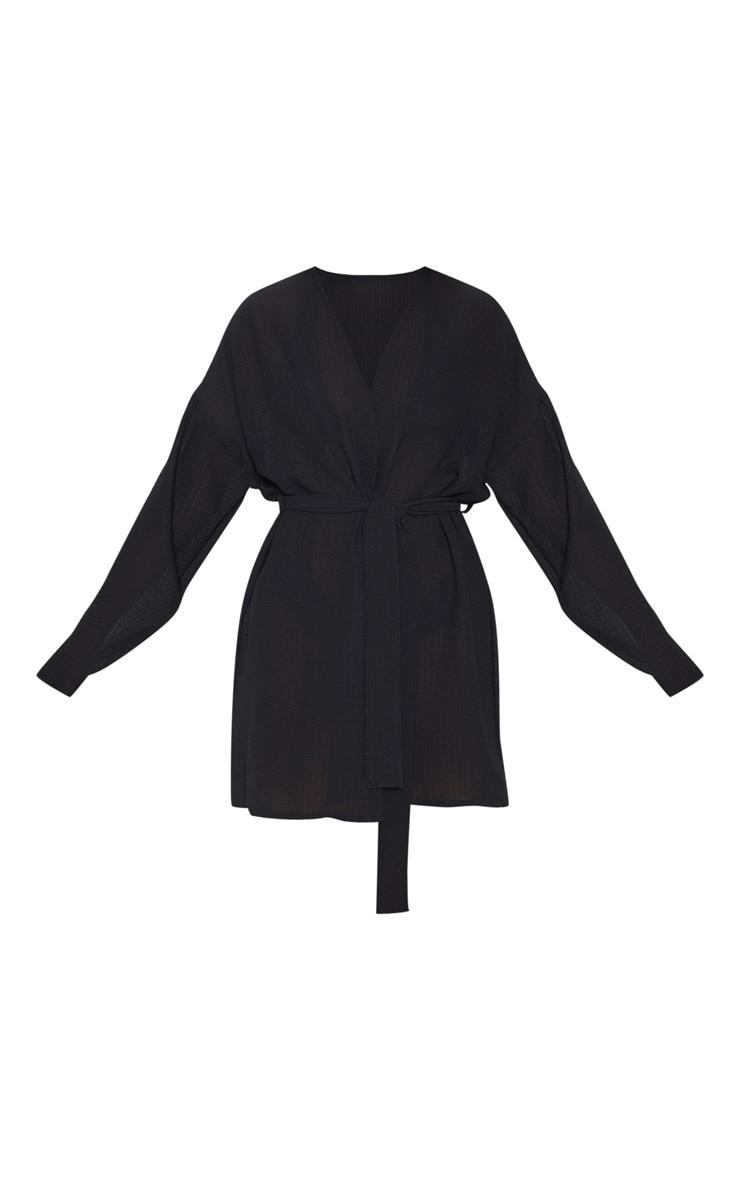 Kimono de plage court noir texturé 3