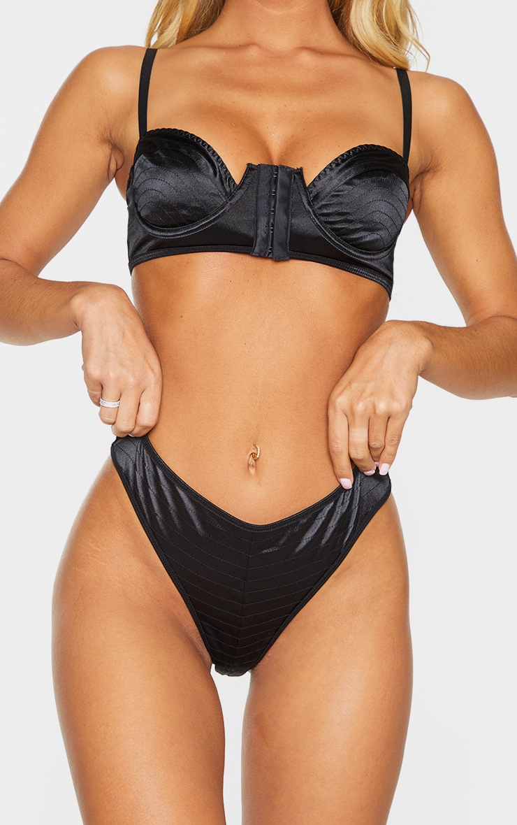 Black Stitching Detail Satin Thong 1