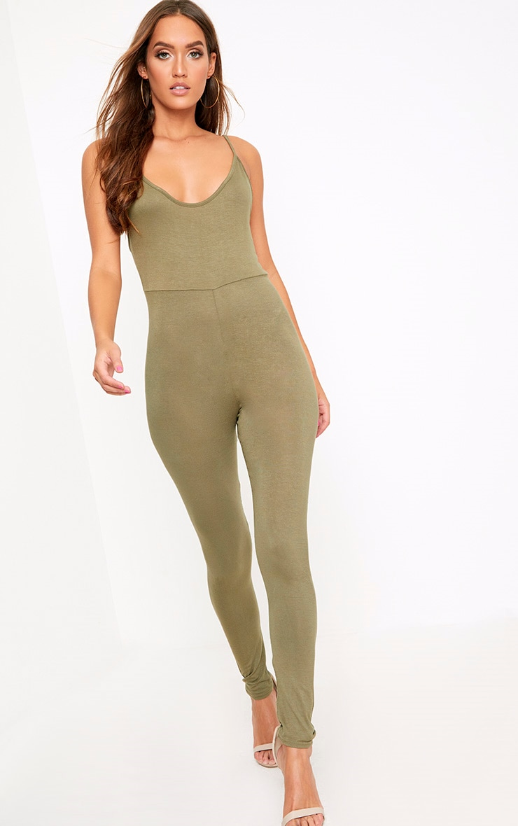 Khlara Khaki Low Back Jersey Jumpsuit 1
