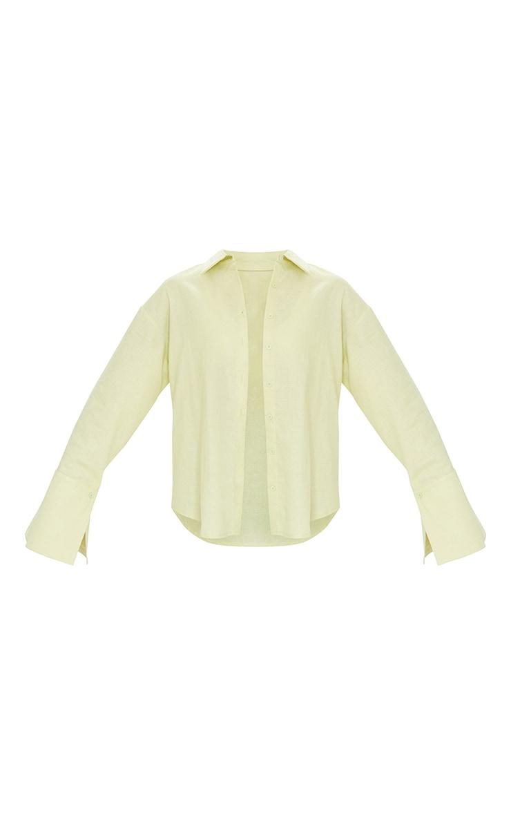 Tall Green Linen Look Wide Sleeve Shirt 5